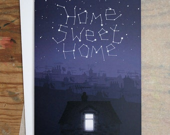 Home Sweet Home - New Home Card - Illustrated Greeting Card