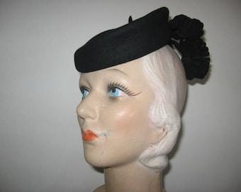 1940's Black Fur Felt Tippy Hat!