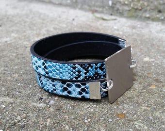 bracelet 3 tours avec connecteur carré à graver