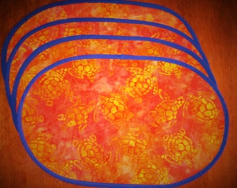 Handmade Quilted Oval Placemats, Bright, Colorful Sea Turtle Batik Fabric.  Set of 4