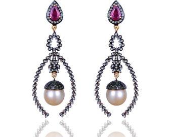 Sterling Silver Diamond ,Ruby & Pearl Earring -ESDE-1092SC