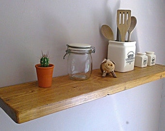 Kitchen Floating Wall Shelf / Shelves - Pine, Oak, Whites, Wax - 1ft - 6ft - ** FREE UK DELIVERY **
