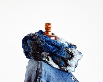 Cable knit infinity scarf, denim double wrapped infinity scarf, ruffle neckwarmer scarf, chunky knit scarf, blue white grey cable knit scarf