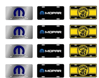 1:25 scale model Mopar Super Bee toy car license tag plates