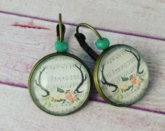 Cameo earrings, glass cabochon, boho earrings