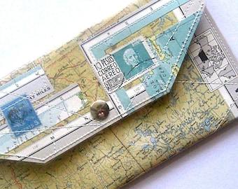 Map Wallet handmade from vintage atlas paper and vinyl