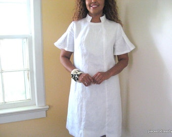 White, Linen, Dress, Summer, Banded Collar, Pleated Sleeve, Daytime, Anytime, Luncheon, Lined, Uneven Hemline, White Event, Semi-fitted,