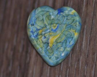 Hand made molded heart shaped flower shank button - blue yellow white green heart button - OOAk 1 button