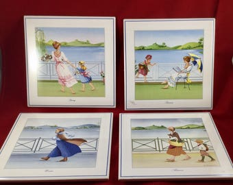 4 Vintage French Tiles, Spring, Summer, Autumn and Winter