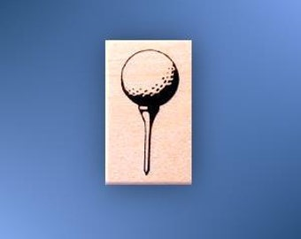 GOLF BALL on TEE, lg. mounted rubber stamp, golfing, summer sports, Father's Day, Sweet Grass Stamps No.14