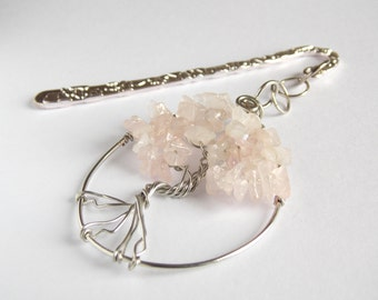 Bookmark Rose Quartz Tree of Life,  Gift for Book Lover