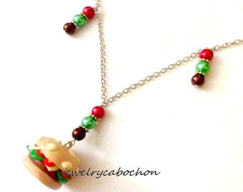 Hamburger necklace, polymer clay, beads