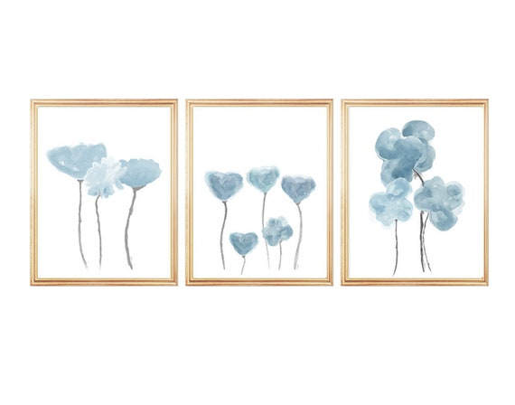 Dusty Blue Gray Wall Decor, 11x14- Set of 3 Watercolor Flower Prints