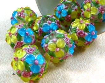 Lampwork Flower Beads - Yellow & Blue Floral Delight - Vibrant Colorful Floral Lamp work - approx. 14mm - Qty. 2