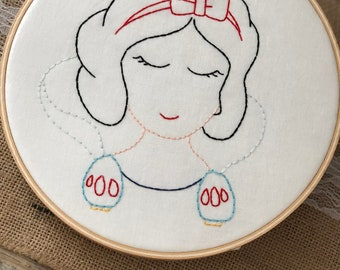Snow White Embroidered Hoop Art Wall Hanging