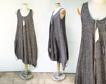 european 100% linen dress M size woman unique fashion design, eco friendly look hemp clothing flax asymmetrical art to wear linen clothing 8