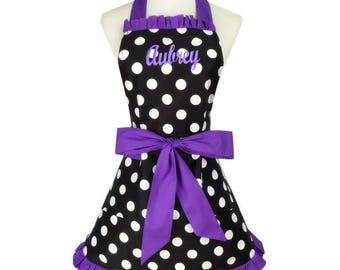 PERSONALIZED Adult Size Black, Purple & White Polka-Dot Pattern Apron