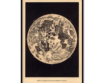 moon art print, Vintage moon map,poster of the moon, home decor , wall art