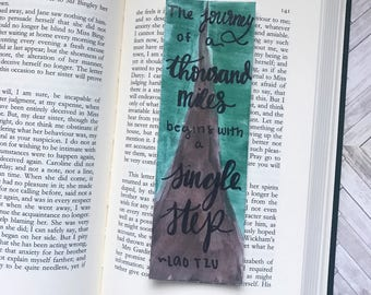 Journey of a Thousand Miles Bookmark; Inspirational Quotes Bookmark; Inspirational Gift; Traveled Gift; Hand lettered Bookmark
