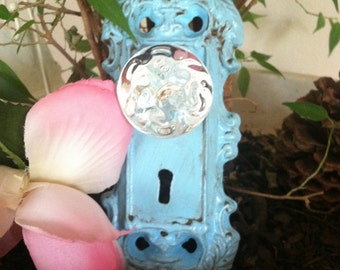 Wall Hook, Wall Hanger, Shabby Chic Aqua Antiqued Hook