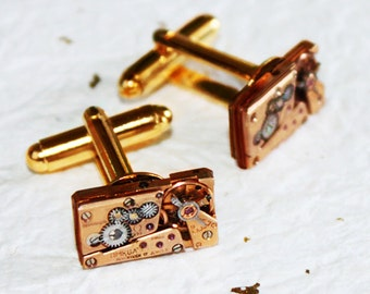 OMEGA Men Steampunk Cufflinks - Super RARE GENUINE Luxury Swiss Vintage Watch Movement Men Steampunk Cufflinks Cuff Links Men Wedding Gift