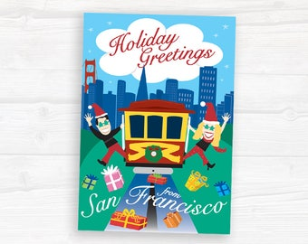 Holiday Greeting Card Set - set of 12 - San Francisco Cable Car