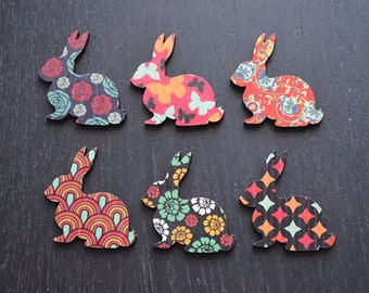 6 wooden laser cut rabbit shapes- red range