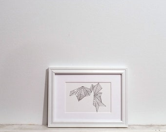 Original Ink Drawing - geometric design, 3x5 abstract triangle drawing on Bristol