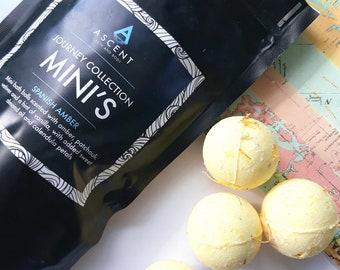 mini bath bombs, amber bath bomb, bath fizzy, bath ball, sunshine bomb, moisturising bath bomb, bomb with calendula petals