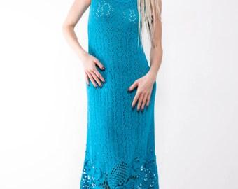 Maxi Blue dress Crochet turquoise dress maxi sundress blue lacy sundress turquoise viscose Dress Crochet Beach dress evening sleeveless gown