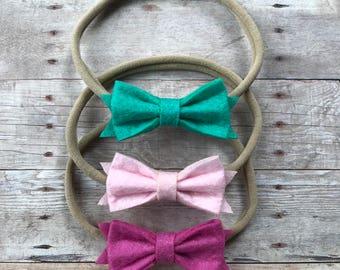 Baby headbands. Baby Hair Bows. Nylon Headbands. Baby Headband Set. Newborn Headband. Hair Bow. Pink. Turquoise. Baby Shower Gift. Hair Bows