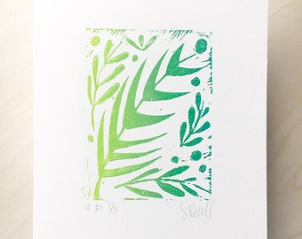 Forest Greenery Limited Linocut Print