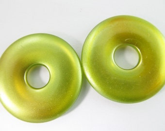 6 Vintage 30mm Shimmery Pear Green Flat Hoops Con129