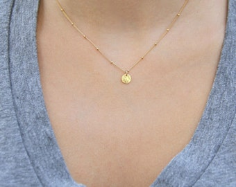 Dainty gold necklace etsy gold coin necklace dainty gold necklace satellite chain necklace gold disc necklace aloadofball Choice Image