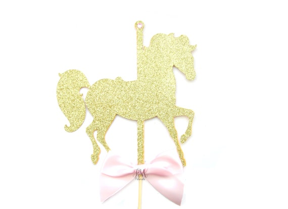 Items Similar To Large Gold Glitter Carousel Horse Cake