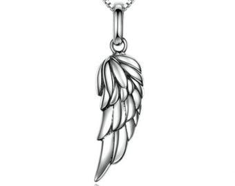 IzuBizu London Classy Feather Wing Pendant 925 Stirling Silver Guardian Angel - Free Gift Box