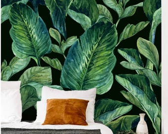 Banana leaf wall mural, Banana leaves removable wall mural, tropical leaf wallpaper for bedroom, Green leaf peel and stick wall mural - L01
