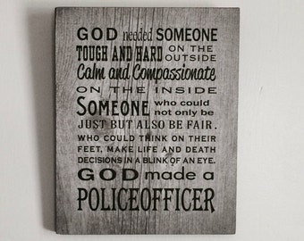 Father's Day Gift God Made Police Officer Wood Sign, Canvas, Thin Blue Line, Law Enforcement, Police, Christmas, Graduation