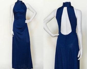 1970s Maxi Dress --- Vintage Navy Dress