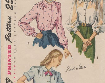 Vintage 40s Sewing Pattern / Simplicity 2382 / Blouse / Size 14 Bust 32