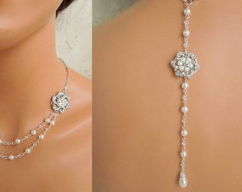 pearl necklace backdrop necklace bridal necklace bridal pearl necklace pearl backdrop necklace rhinestone necklace crystal necklace AMELIA