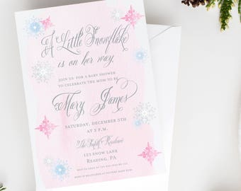 A Little Snowflake is on Her Way Baby Shower Invitation - Baby Girl Shower - Winter Baby Shower Invitation