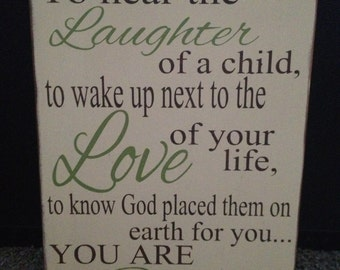 To hear the laughter of a child, you are Blessed, Nursery Decor, Nursery Sign, Baby Gift,