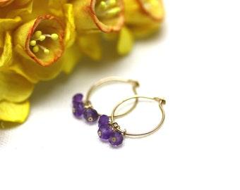 Small Gold Hoop Earrings with Amethyst Gemstones | Minimal, Feminine Jewelry | Gift for Woman | Light, Comfortable Earrings by Azki