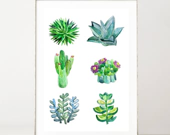 Watercolor Succulents Print, Botanical Poster Cactus Print, Watercolor Botanical Wall Art, Boho Home Decorating, Trending Now, Extra Large