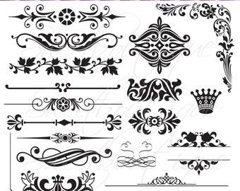Digital clipart Scrapbooking Digital Frames Wedding decoration text dividers clipart invitation Buy 3 get 1 free clipart 0152