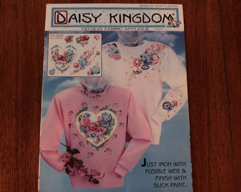 MY HEARTS DELIGHT Iron On Fabric Applique by Daisy Kingdom -Hearts and Roses