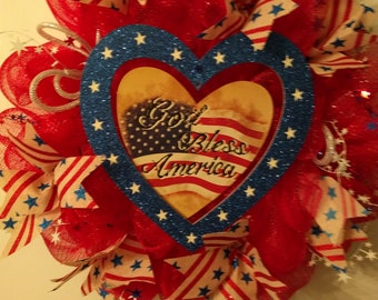 Patriotic wreath, red, white and blue, 4th of July wreath,