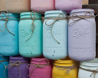 Distressed Mason Jars ~ Set of 4 ~ Shabby Chic ~ You chose colors ~ Shabby Chic ~ Vintage Decor ~ Vases ~ Home and Wedding Decorations ~