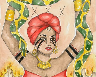 Voodoo Art Vodou Priestess Original Watercolor Painting Hoodoo Fantasy Art Pagan Art Spiritual Art Magick Witch Santeria Vodun Goddess